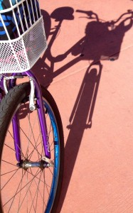 It's so much fun exploring by bicycle especially when it's purple!