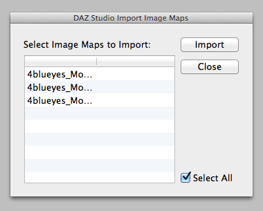 Select image maps to import