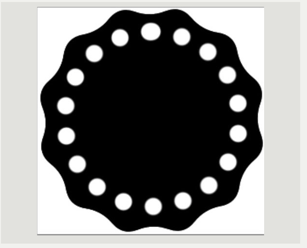 After stroking the path you should now have a circle of white dots.