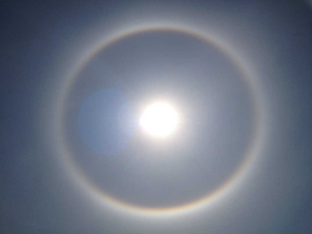 This was an amazing moment when I looked up at the sky and managed to frame the sun halo perfectly.