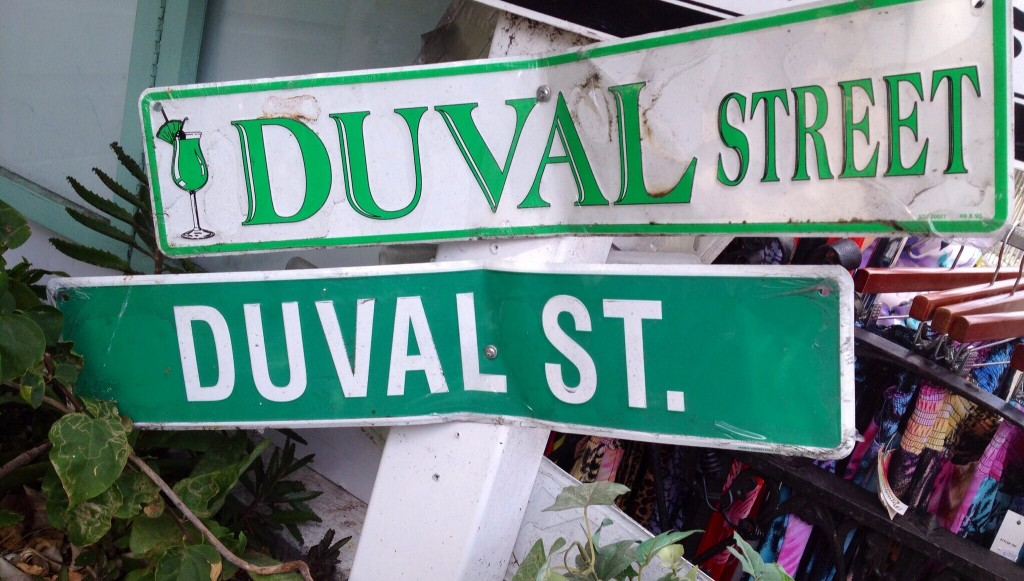 A couple of signs on the famous Duval Street, Key West, FL