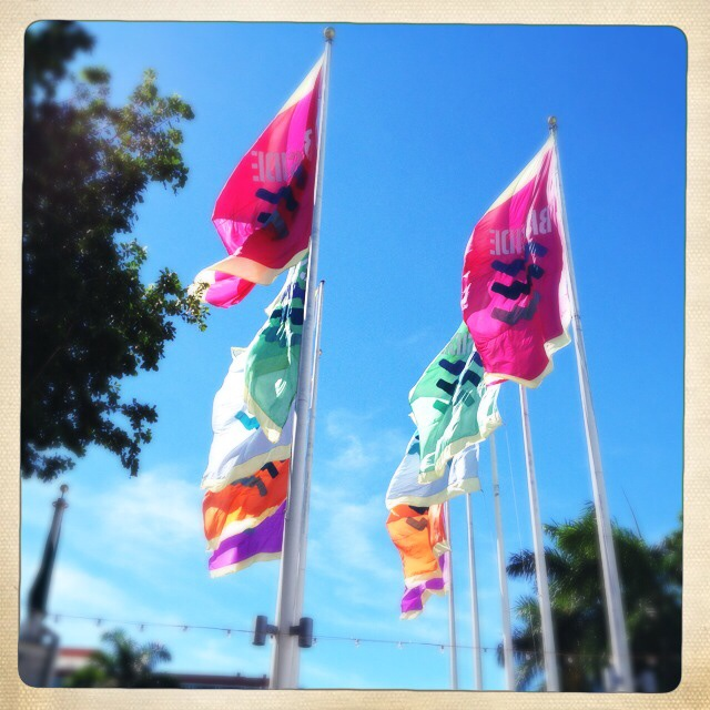 Double sided flags at Bayside, Downtown Miami