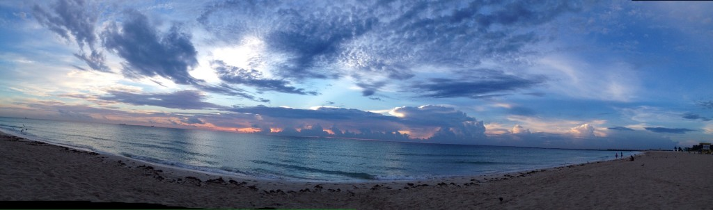 The panoramic view of the early morning clouds is even more dramatic